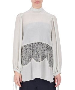GATHERED SLEEVE TIEBLOUSE WITH LACE