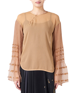 GEOMETRY SHIRRING BLOUSE