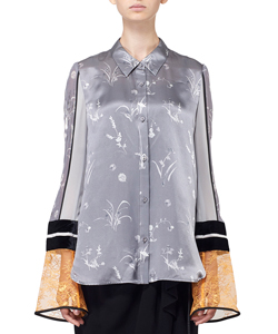 SILK LAME PRINT SLEEVES SHIRT