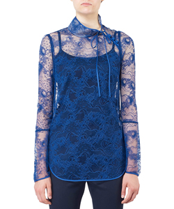 ORGANDIE LACE HIGH-NECK TOPS