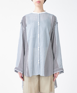 STRIPE SHIRT WITH OPEND SLEEVES