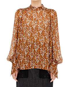 FLOWER HAND-PRINTED CREPE BLOUSE