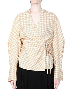 SUMMER WOOL PLAID WRAP-FRONT TOP