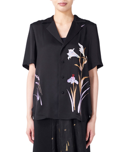 BOTANICAL EMBROIDERY OPEN-COLLARED SHIRT