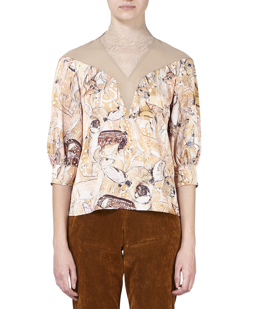MIDWEST EXCLUSIVE DEER PRINTED RACE BLOUSE