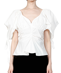 GATHERED-SLEEVE TAFFETA BLOUSE