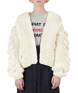 CABLE HOODED BOMBER KNIT