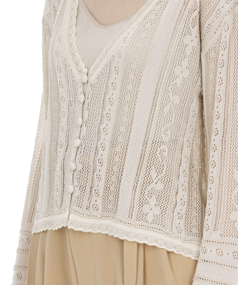 TRADITIONAL CURTAIN LACE KNITTED CARDIGAN