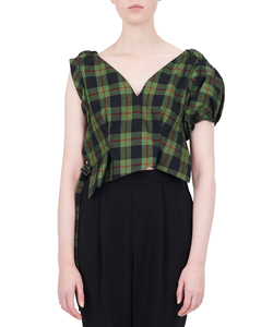 TARTAN CHECK GATHER VEST
