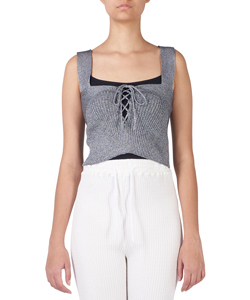 GLITTERY RIBBED LACE-UP SHORT CAMI-TOP