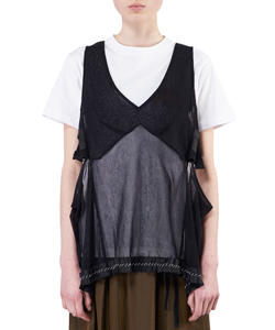 COTTON TULLE SLEEVELESS TOP