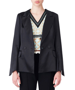 SILK WOOL DOUBLE‐BREASTED JACKET