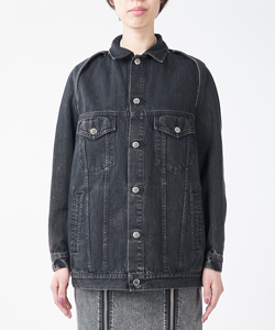 BLEACHED DENIM DETACHABLE SLEEVE JACKET