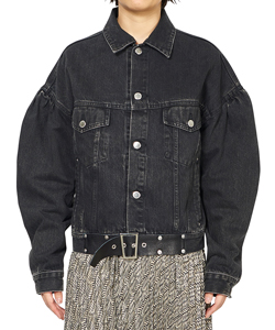 FRONT SIDE BELTED DENIM JACKET
