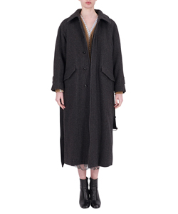 GLEN CHECK LONG COAT