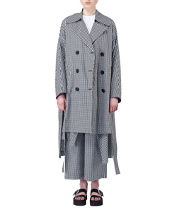 GINGHAM BOX SLIT TRENCH COAT