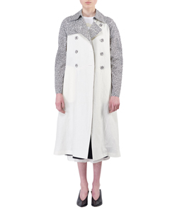 FLOWER PATTERNED COTTON AND LINEN TRENCH COAT