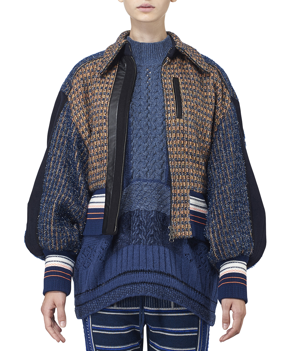 PLAID LAME TWEED BOMBER JACKET