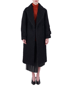 SHAGGY LONG COAT WITH WAIST BELT