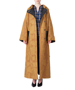 BLOCK JACQUARD LONG COAT