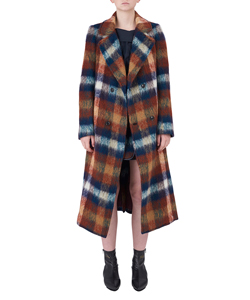 MOHAIR SHAGGY CHECK LONG COAT