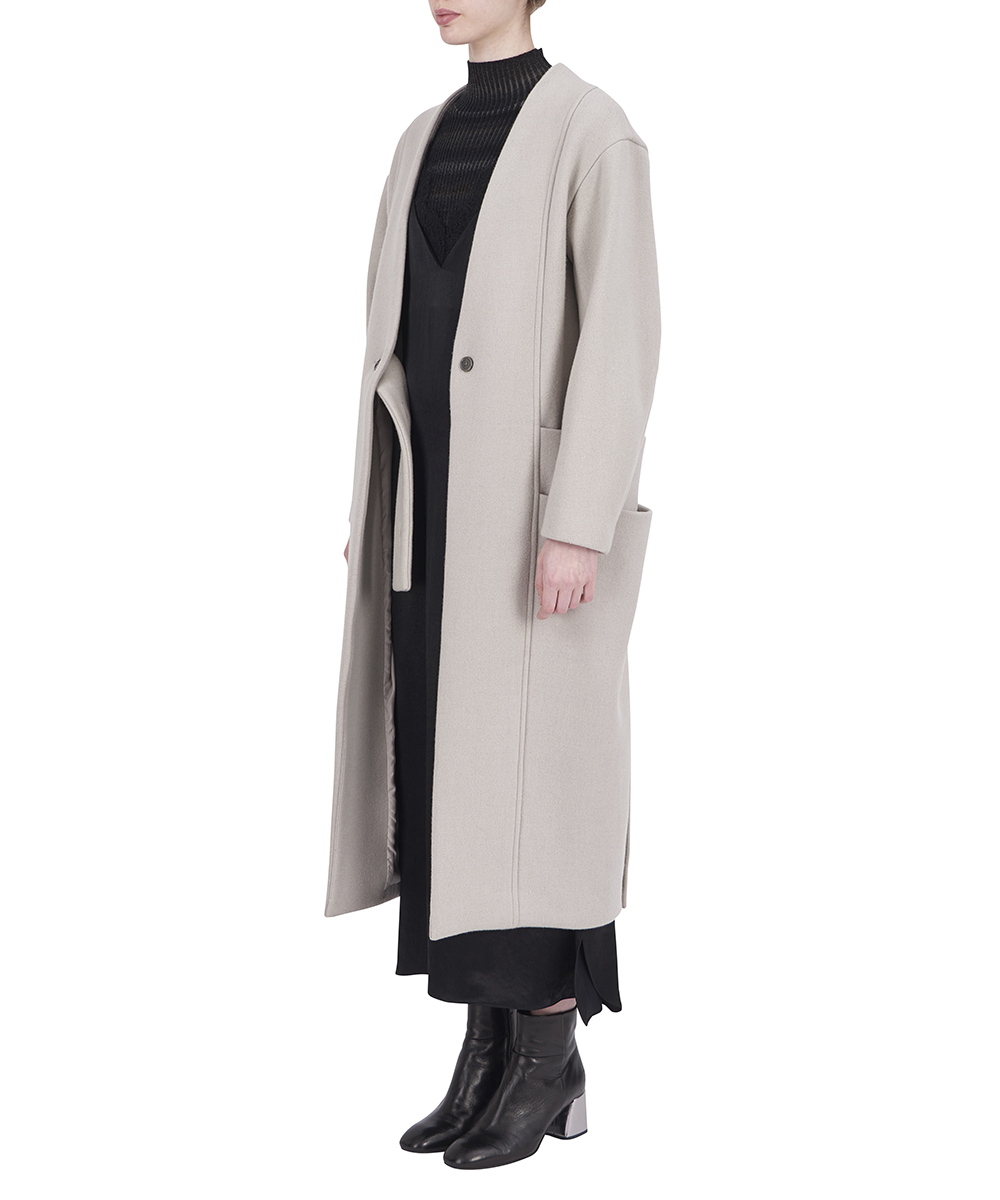 NO COLLAR COAT WITH DOUBLE POCKETS