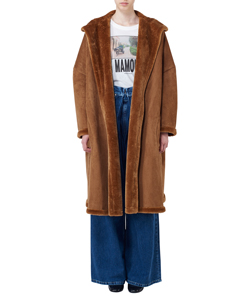 HOODED FAKE MOUTON COAT