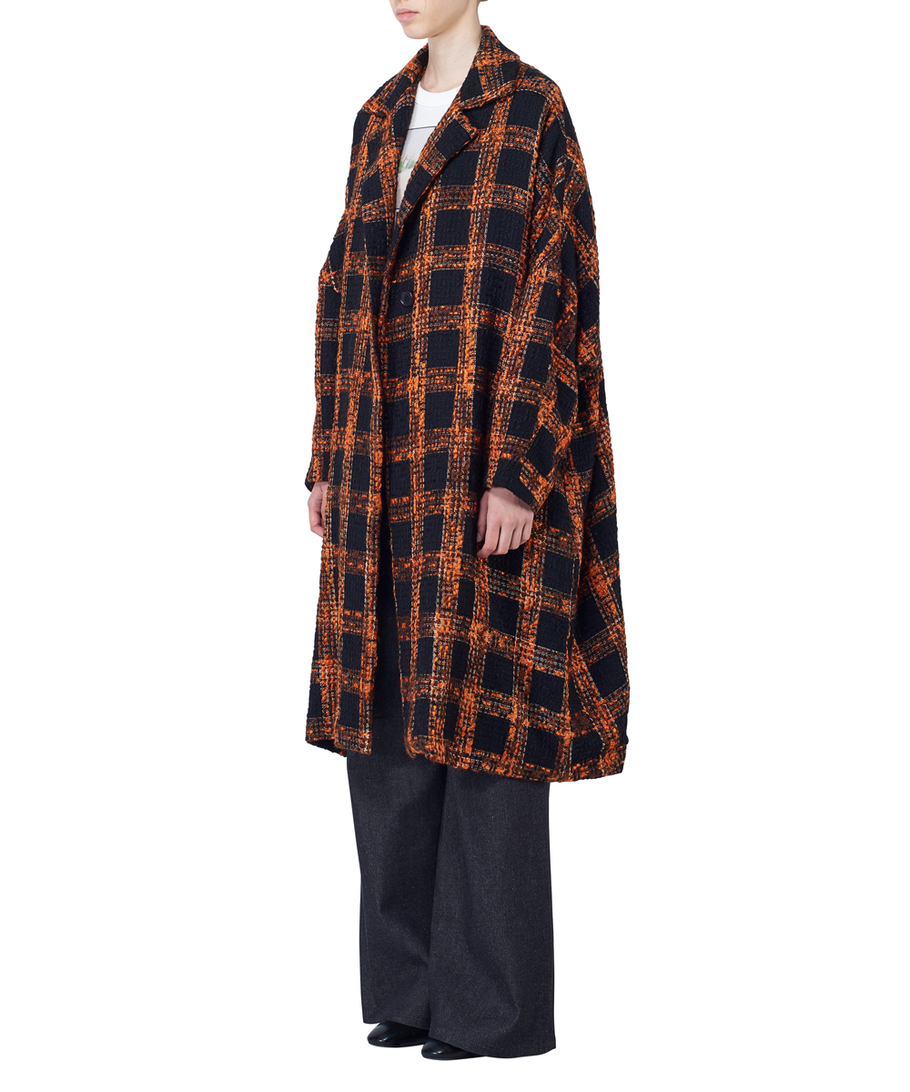 CHECK TWEED DOLMAN COAT