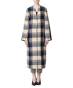 WOOL TWEED CHECK COAT