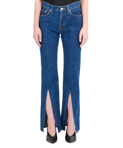 WASHED DENIM SLIT JEANS