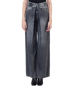WASHED DENIM WIDE PANTS