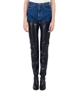 DENIM & FAKE LEATHER BI-COLOR PANTS