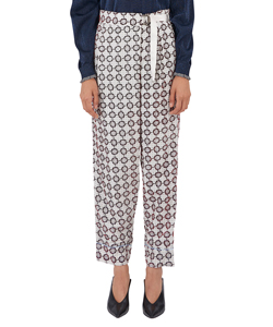 FLOCK PRINT TUCK PANTS