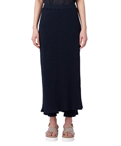 COTTON RIB WRAP-AROUND SKIRT PANTS