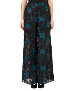 FLOWER CUT JACQUARD PANTS