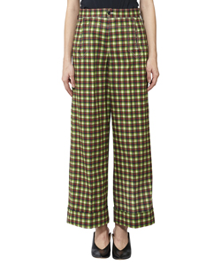 COTTON TWILL CHECK PANTS