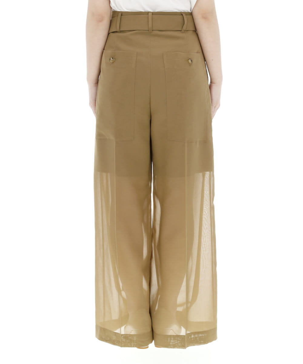 SHEER COTTON STRAIGHT PANTS