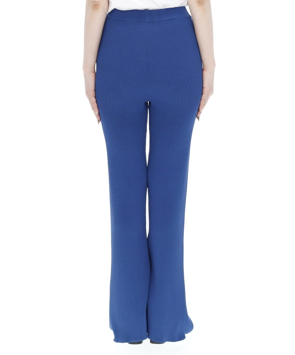 COLORED STITCH SLIT KNIT TROUSERS