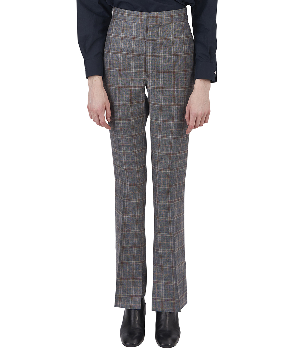 WOOL CHECK VENT PANTS