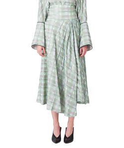 KASURI PLAID FLARED SKIRT