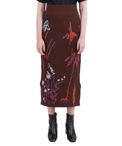 FLORAL DOUBLE JACQUARD TIGHT SKIRT