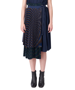 MULTI COLORED STRIPE SHIRTING WRAP SKIRT