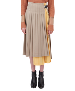 WOOL PLEATED SKIRT