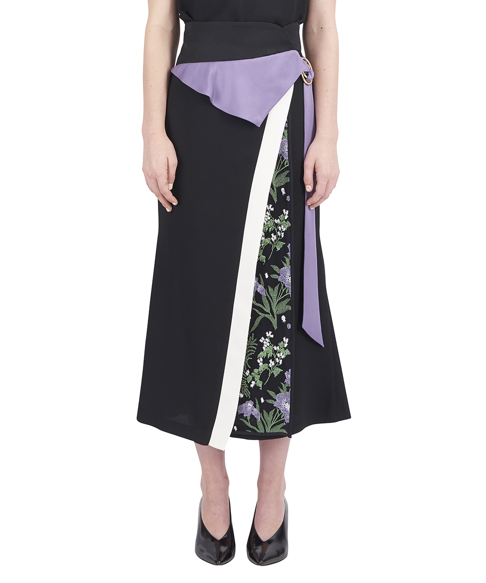 BOTANICAL LAYERED LONG SKIRT