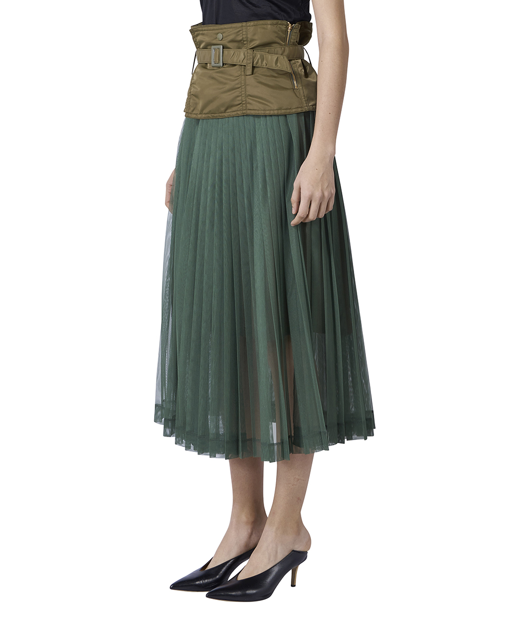 NYLON CORSET PLEATED SKIRT