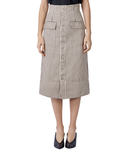 COTTON LINEN STRIPE A LINE SKIRT