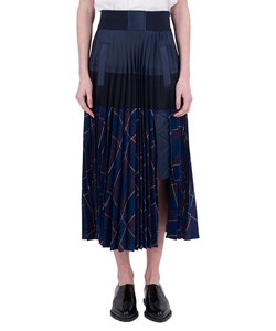 GLENCHECK PLEATED SKIRT