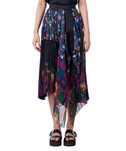 FLOWER PRINT SATIN PLEATED SKIRT