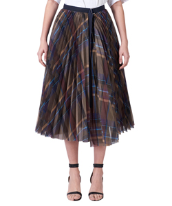 CHECK ORGANZA WRAP SKIRT