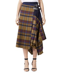 CHECK POPLIN WRAP SKIRT